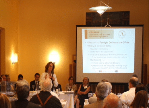 Geralyn Brostrom moderating the Amarone Families seminar panel