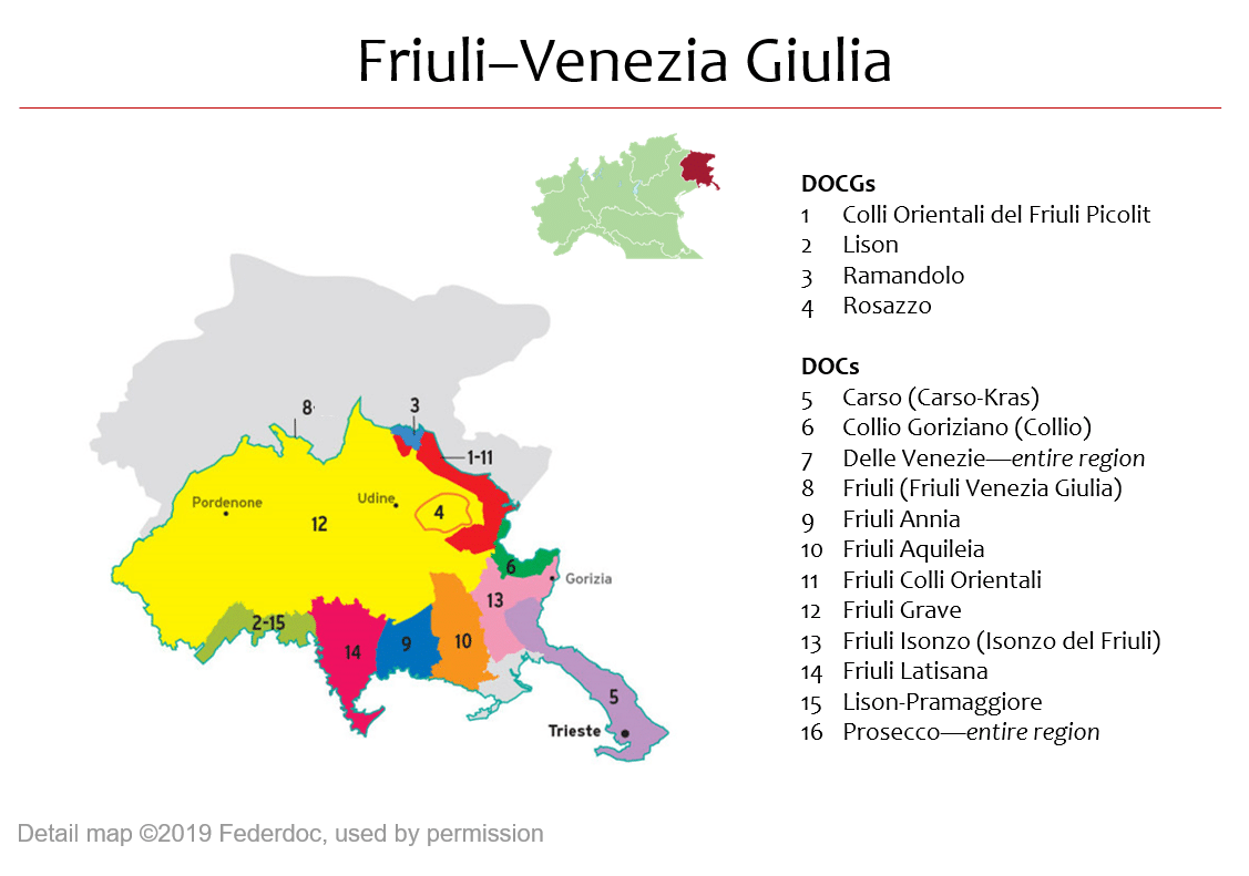 Prosecco Region Italy Map.Map Of Friuli Venezia Giulia Dops Italian Wine Central