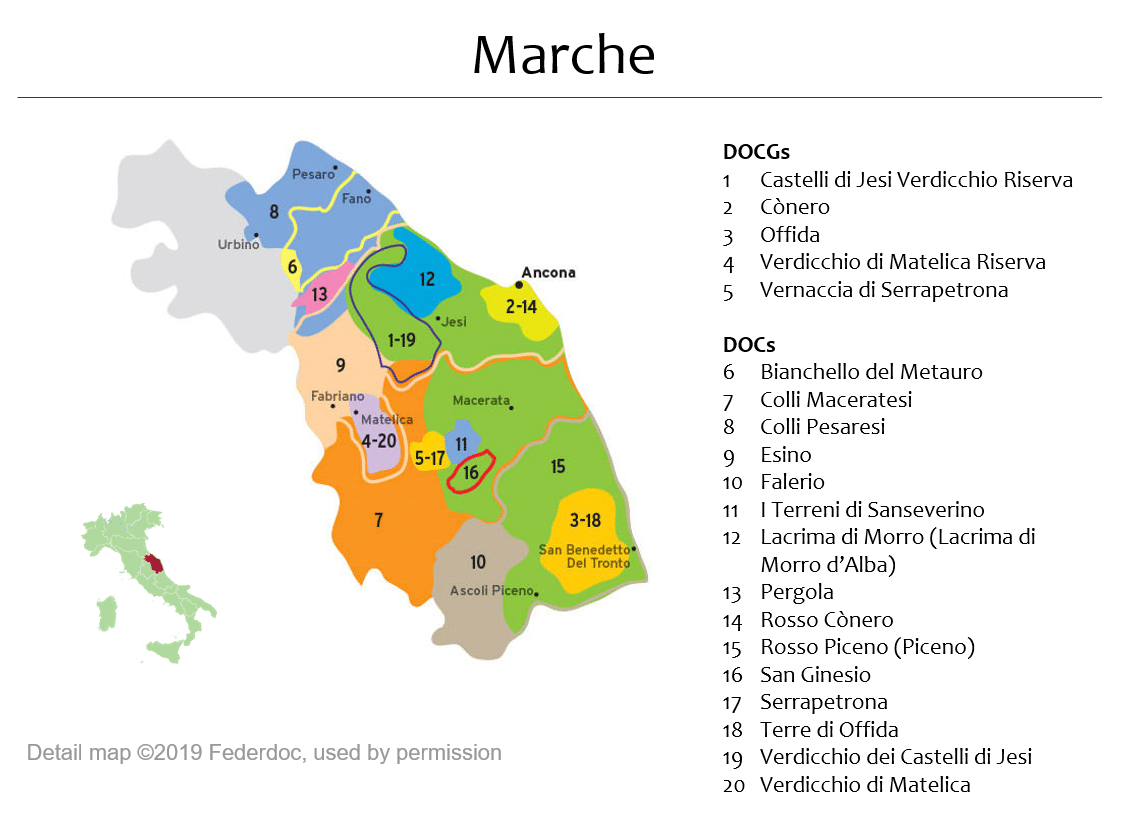 Marche Region Italy Map.Map Of Marche Dops Italian Wine Central