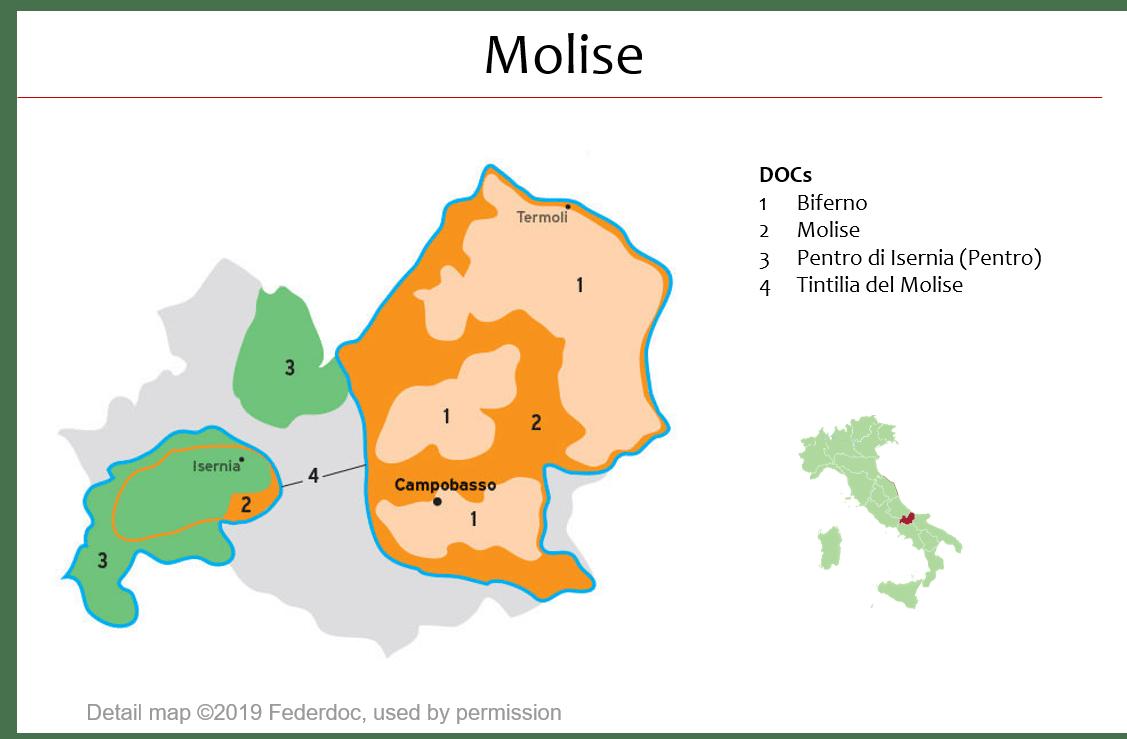 Isernia Italy Map.Map Of Molise Dops Italian Wine Central