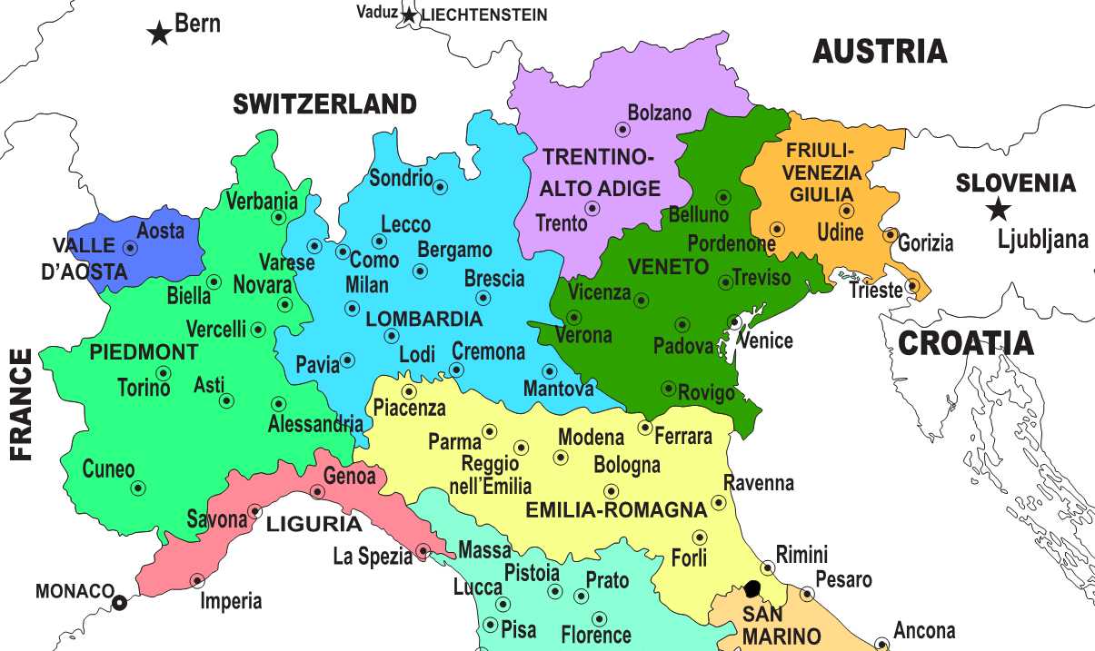 Friuli Italy Map.Regions Of Northern Italy Italian Wine Central