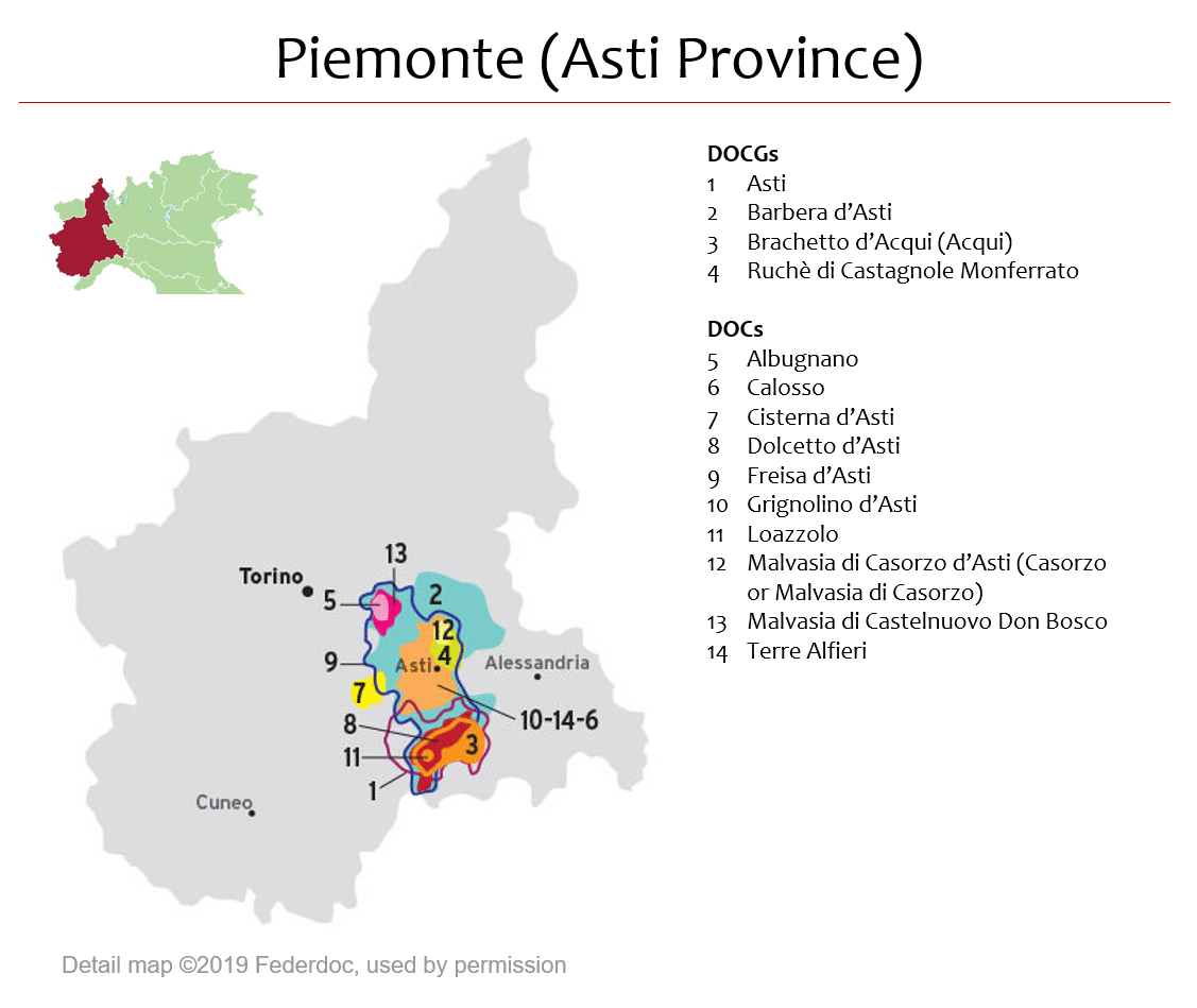 Alessandria Italy Map.Map Of Piemonte Dops Asti Area Italian Wine Central