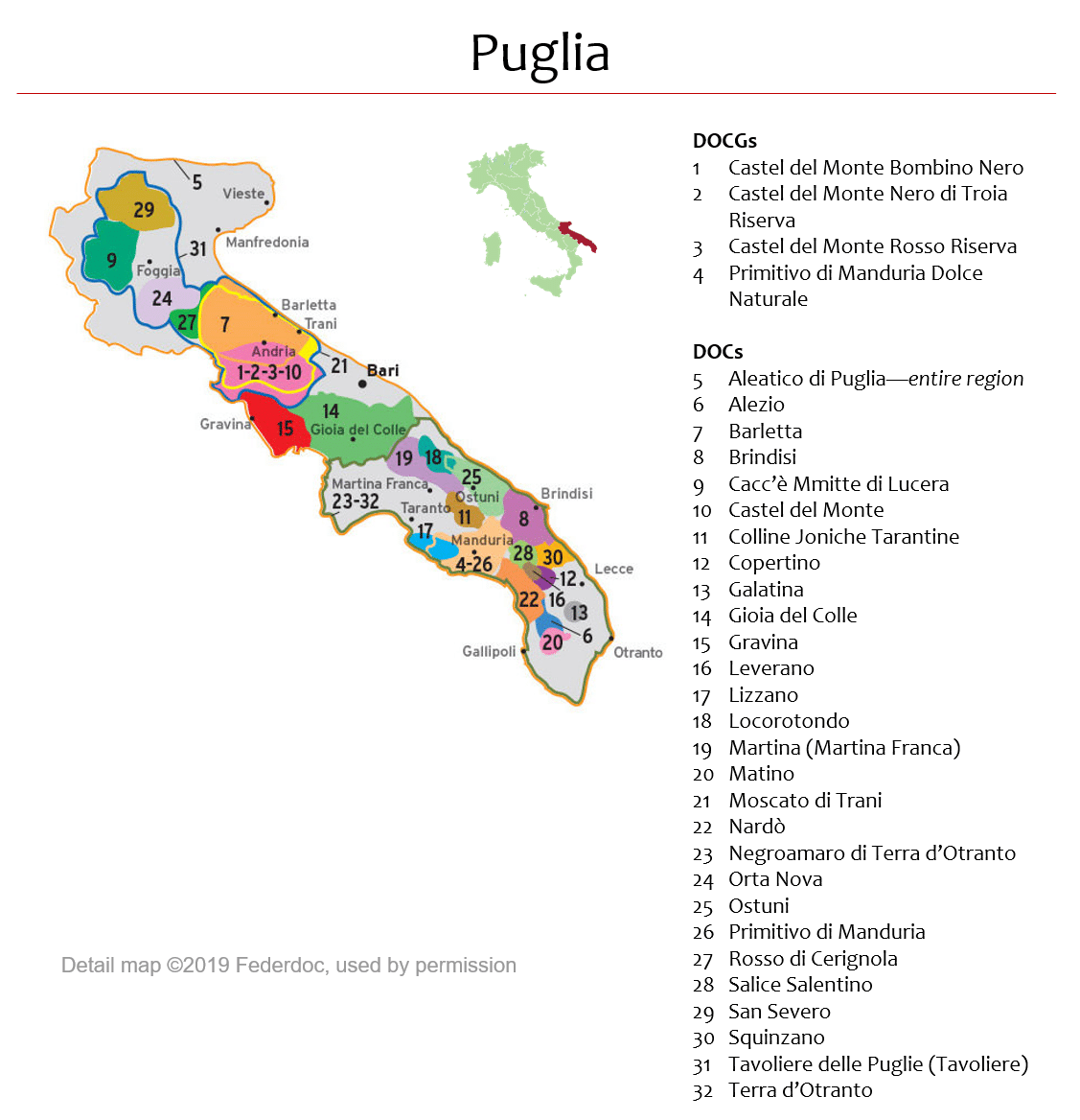 Map Of Puglia Dops Italian Wine Central