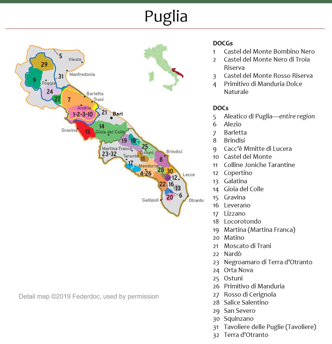 Map Of Italy Puglia Region.Map Of Puglia Dops Italian Wine Central