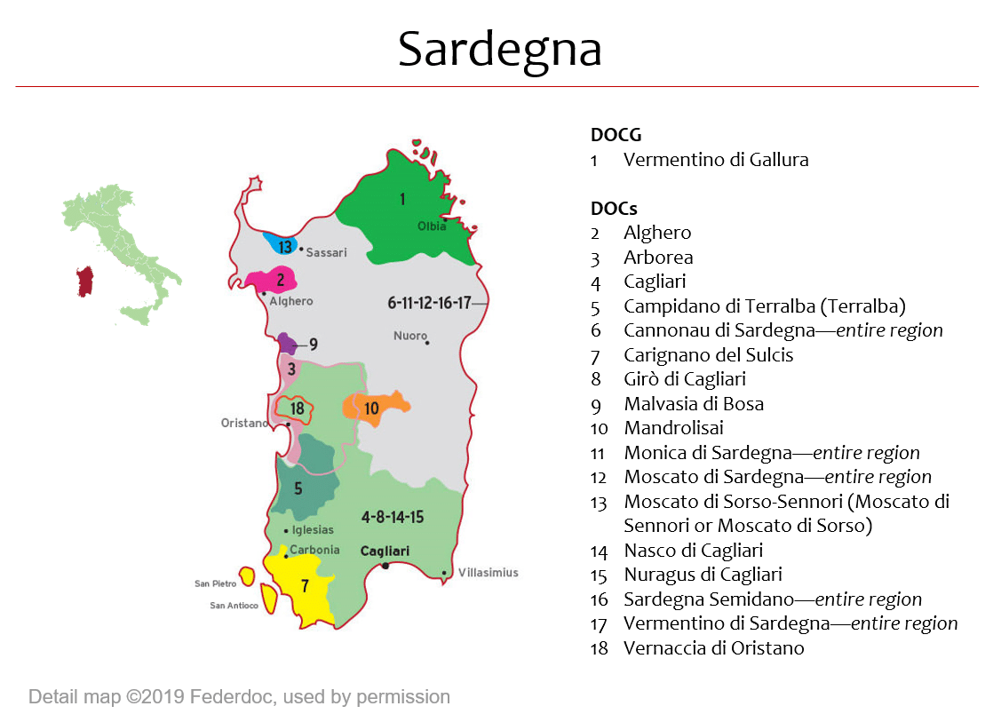 Map Of Sardegna Dops Italian Wine Central