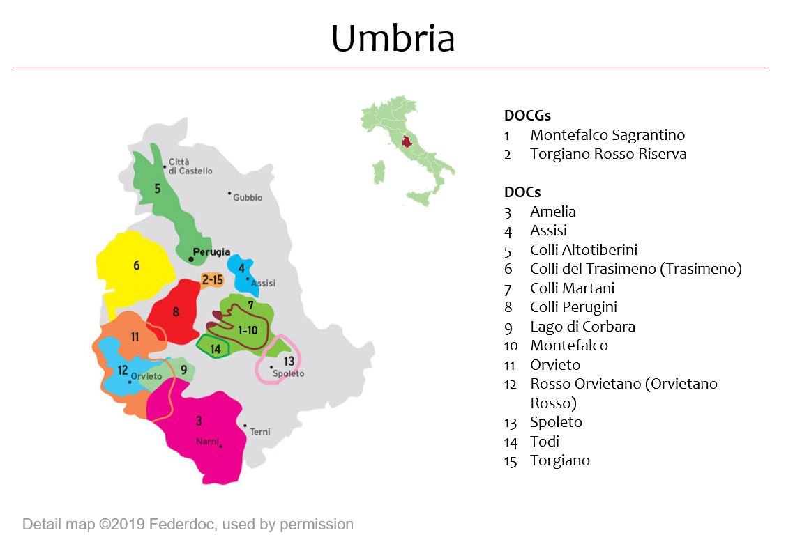 Map of Umbria DOPs Italian Wine Central