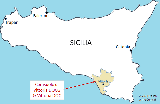 Vittoria DOP & Sicilia map